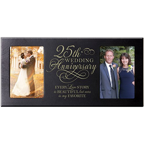 LifeSong Milestones 25th Silver Wedding Anniversary Every Love Story is Beautiful but Our is My Favorite Gift for Couple 25 Year Anniversary Picture Frame Holds 2-4x6 Photos ()