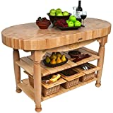 American Heritage Harvest Kitchen Island with Butcher Block Top Base Finish: Natural Maple