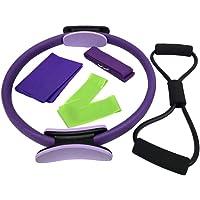 Garneck 5 Piezas de Círculos de Fitness Anillo de Pilates Bandas de Ejercicio Cordones de Yoga Cinturón de Tracción Tirador Tirador Ejercicio de Resistencia Anillo de Fitness Ejercicio Aro para Ejercicio Deportivo de Yoga (Púrpura)