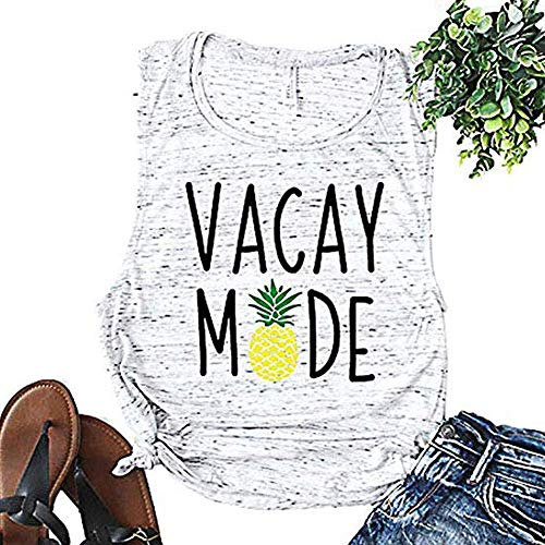 ALLTB Pineapple Vacay Mode Tank Tops Womens Funny Letters Print Sleeveless Vacation Shirt Tops (White, XXL)