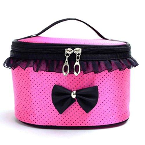 Hatop Portable Travel Toiletry Makeup Cosmetic Bag Organizer Holder Handbag (Hot Pink) (Betsy Dot)