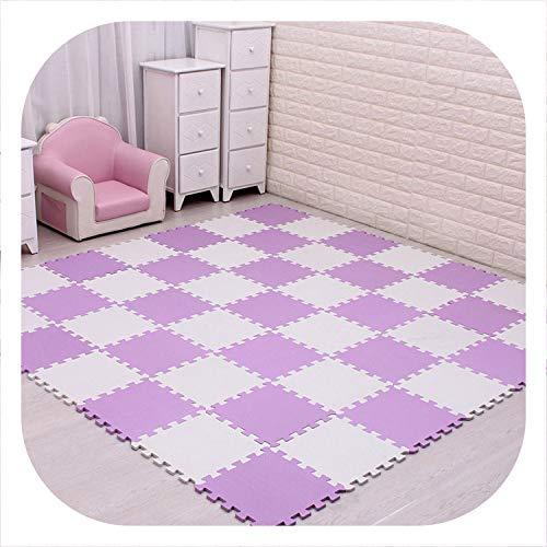 Lose sky 18/24/9 Pcs Pattern Foam Puzzle Kids Rug Carpet Split Joint EVA Baby Play Mat Indoor Soft Activity Puzzle Mats 29X29cm0.8cmThick,China,White Purple,18 pcs(29x29x0.8cm)