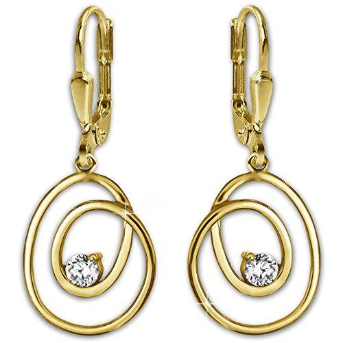 """Clever-Parure Boucles D'Oreilles Pendantes """"or Kringel d'or avec oxyde de zirconium-Design Moderne avec pendentif 333OR 8CT assorti pour femme"""