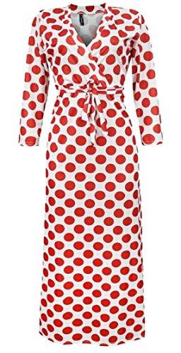 Jaycargogo Impression De Point D'été Des Femmes V Col Haut Robe Maxi Swing Taille 3
