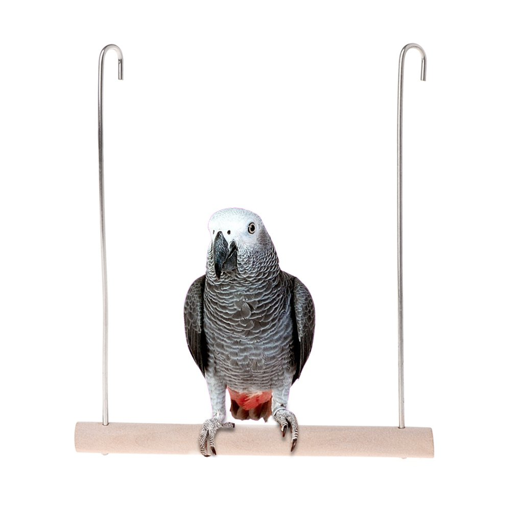 Wodwad Natural Wooden Birds Perch Parrots Hanging Swing Cage Pendant Toys Stand Holder (L)
