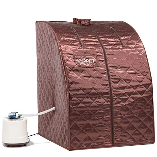 KUPPET Portable Folding Steam Sauna-2L One Person Home Sauna Spa for Full Body Slimming Loss Weight w/Chair, Remote Control, Steam Pot, Foot Rest, Mat (Brown)