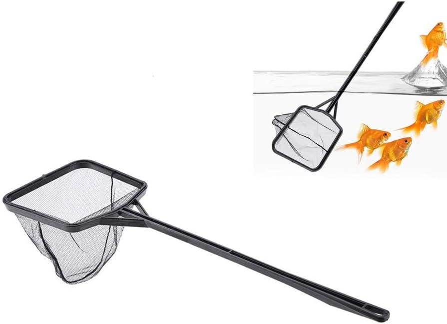 Red de Peces de Acuario Ligero Nylon Tanque de Peces Red de Pesca Cuadrado Pescado Red de camarones Malla de Tanque de Peces Catching Herramienta de Malla de Limpieza con Mango de plástico(M)