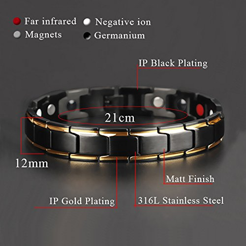 Hottime 316L Stainless Steel Magnetic Therapy Bracelet Pain Relief for Arthritis and Carpal Tunnel Photo #8