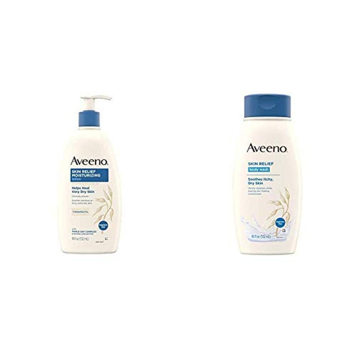 Aveeno Skin Relief Fragrance-Free Moisturizing Daily Body Wash, 18 oz & Skin Relief Fragrance-Free Moisturizing Body Lotion for Sensitive Skin, 18 oz