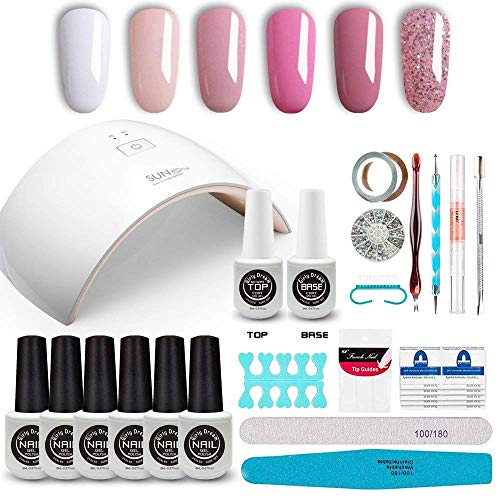 GirlyDream Gel Nail Polish Set Top Base Coat 6 Color Nail Polish SUN9C Plus 36W Fast Curing LED Nail Lamp Complete Manicure Tools New Starter Nail Art Tool Kit #014