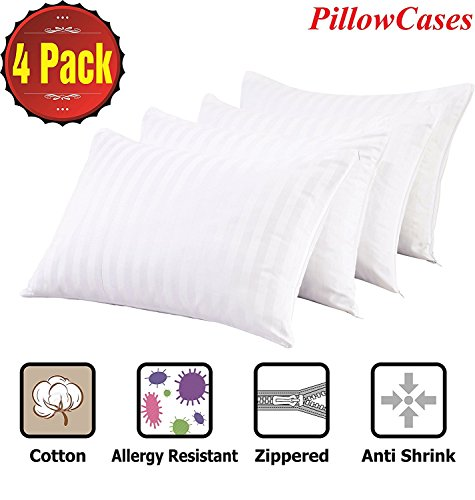 Pillow Covers Anti Allergy Bed Bug Dust Mite Proof 4 Pack Pillow cases Protectors Queen Premium 100% Cotton Non Noisy Zippered Anti Bacterial Covers Breathable White Luxury Hotel Quality Dust Mite Proof Bedding
