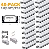Aluminum Channels for Led Strip Lights - StarlandLed 40Pack Led Profile U Channel with Cover and Complete Mounting Accessories,1 Meter Segments