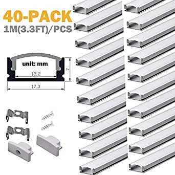 aluminum channels for led strip lights starlandled 40pack led profile u channel. Black Bedroom Furniture Sets. Home Design Ideas