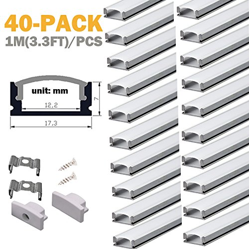 Aluminum Channels for Led Strip Lights - StarlandLed 40Pack Led Profile U Channel with Cover and Complete Mounting Accessories,1 Meter Segments by StarlandLed