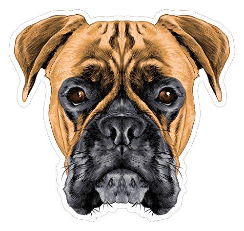 JS Artworks Boxer Portrait Vinyl Bumper Sticker Decal Dog Family Love ()