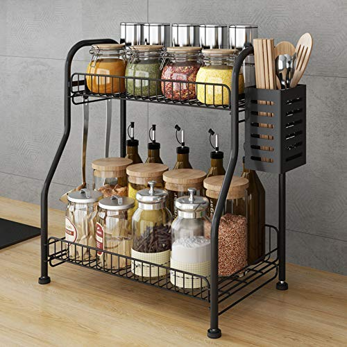 Spice Rack Organizer With Cutlery chopsticks storage shelf, 2-Tier BathKitchen Rack Organizer for Spice Can Sauce Jars Bottle With 3 Hooks (Black, Steel)