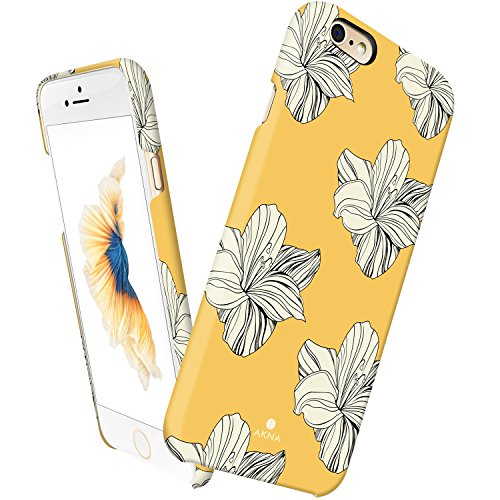 iPhone 6 6s case for girls, Akna Vintage Obsession Series High Impact Slim Hard Case with Soft Fabric Interior for both iPhone 6 & iPhone 6s [Retail Packing][Retro Yellow Floral](U.S) (Vintage Phone For Iphone compare prices)