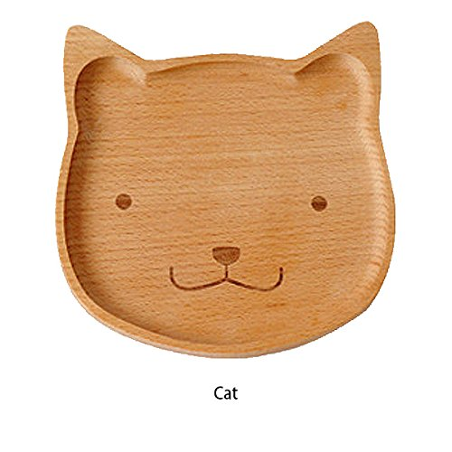Autumn Water Cute Bear Face Wood Dinner Plate Kids Cartoon Pattern Food Fruit Dish Tray Child Baby Serving Wood Plates Dinnerware