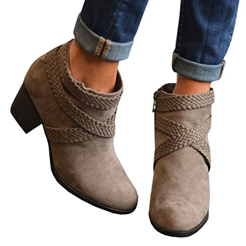 (Huiyuzhi Womens Chunky Stacked Heel Braided Ankle Booties Suede Zipper up Western Ankle Boot)