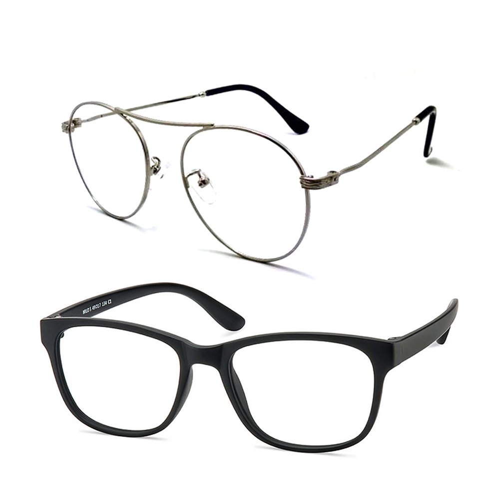 Computer Glasses/Blue Light Blocking Glasses,Filter UV420,Photochromic Lens,Anti-Eyestrain,2pais/pack(Sky_Silver&Milo)