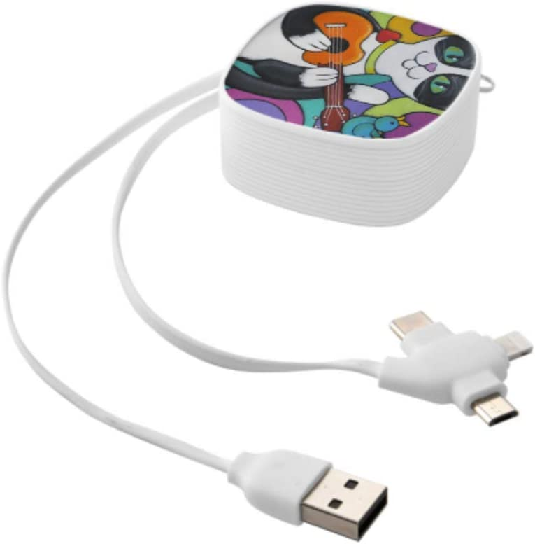 Fast Charge Multi Cable A Tuxedo Cat is Playing The Ukulele A Little Blu Multi 3 in 1 Retractable USB C Cable Charger with Micro USB//Type C Compatible with Cell Phones Tablets and More