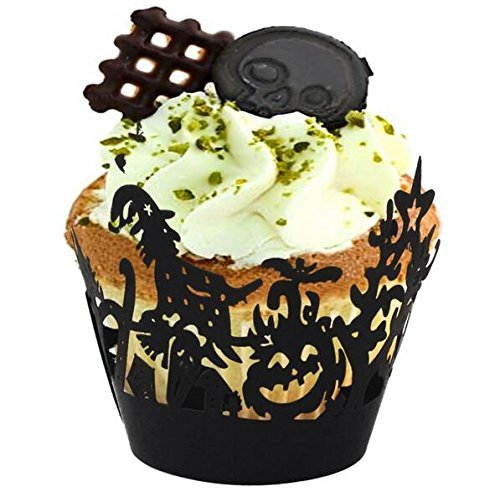 MyMy Chef 25 pcs Cupcake Wrappers Spooky Witch, for Halloween Party Prop -