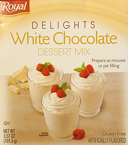 White Chocolate Mousse - Royal Delights Dessert Mix! Choose From Pumpkin Spice, Chocolate French Silk, Or White Chocolate! Prepare As Mousse Or Pie Filling! Delicious! Easy To Make! 1 Pack! (White Chocolate)