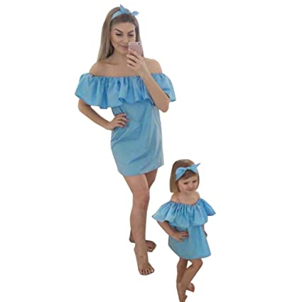6be4e1b6fd3 GBSELL Mommy and Me Summer Off Shoulder Ruffled Mini Dress Family Clothes  (Blue