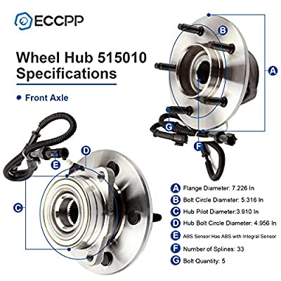 ECCPP Replacement for Wheel Bearing and Hub Assembly for Ford F-150 199719981999 2000 Wheel Hubs 5 Lugs W/ABS 515010x2: Automotive