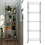 "dtemple 5-Shelf Shelving Rack With Wheels, Heavy Duty- 6000LBS Total Capacity,Wire Storage Rack Organizer(23.2""L x 13.8""Wx 72""H)"