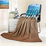 Digital Printing Blanket India Andamans and Sea Soft Sand graphy Blue Aqua Summer Quilt Comforter