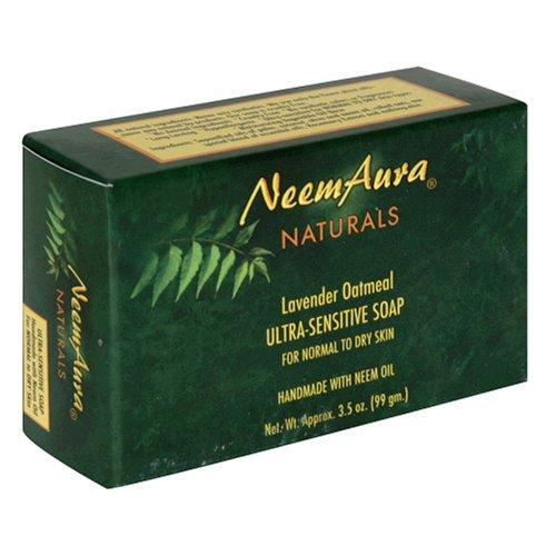 Neemaura Naturals Ultra-Sensitive Soap, Lavender Oatmeal, 3.5 oz (99 g) (Pack of 4)