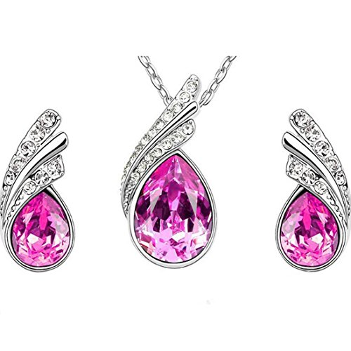 MAFMO Beautiful Platinum-plated Crystal Jewelry Set Pink Crystal Drop Shaped Pendant Necklace Stud (Beautiful Drop Pendant)