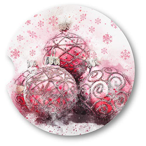 (Water Color Christmas Ornaments Sandstone Car Coasters - Set of 2)