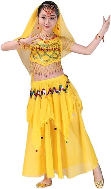 Lvguang Top de Danza del Vientre y Niñas Color Sólido Baile Falda ...