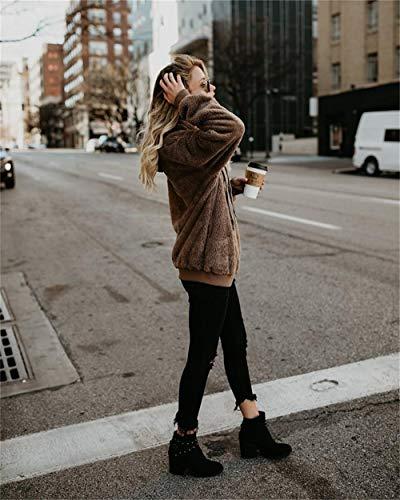Cappuccio Tumblr Sweatshirt E Manica Con Giacca Lunga G Autunno Felpe Donna Cerniera Hoodies Cappotto Cachi anica Felpa xXw7670t