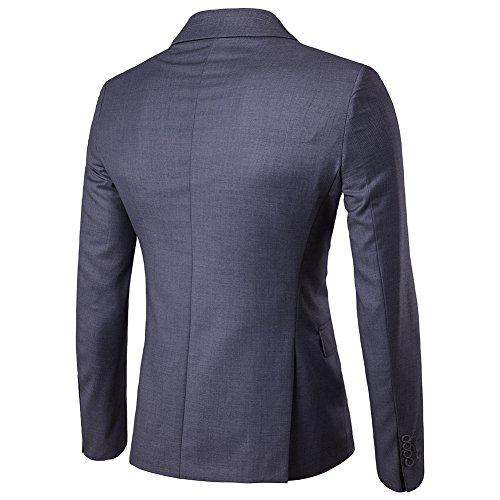 Cappotto Vestito Slim Uomo Scuro One Zhuikun Elegante Grigio Fit Blazer Di Casual Giacca Button Affari BvqwwxfnT0