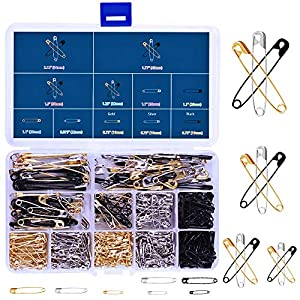 490 Pieces 7 Sizes Heavy Duty Safety Pins Assorted Durable, Large Strong Safety Pins Gold Silver Black 19mm – 54mm for Home Office Use Art Craft Sewing Jewelry Making