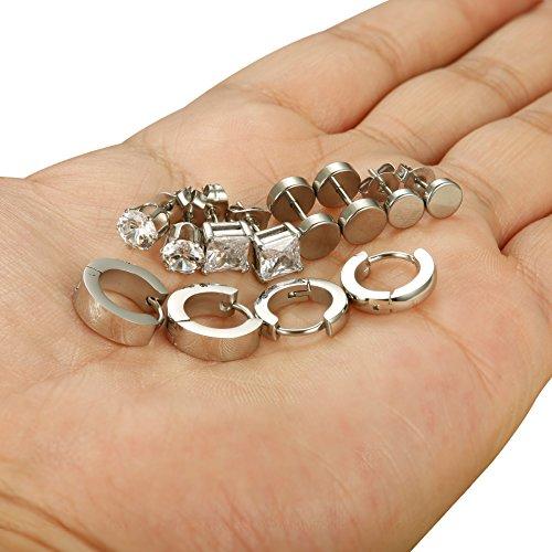 3388004355 Jstyle 6 Pairs Stainless Steel CZ Stud Earrings for Women Mens Huggie Hoop  Earrings Ear Piercing