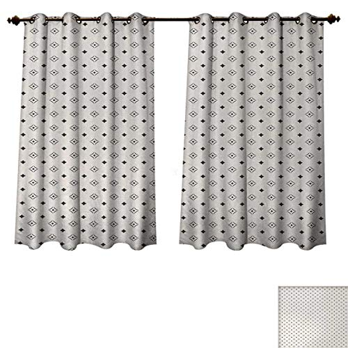 Madison Florals Wallpaper - Anzhouqux Geometric Blackout Curtains Panels for Bedroom Old Fashioned Wallpaper Design with Floral Like Geometrical Icons Art Decorative Curtains for Living Room Charcoal Grey Beige W72 x L45 inch