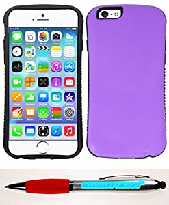 Accessory Factory(TM) Bundle (the item, 2in1 Stylus Point Pen) For iPhone 6 - Dual Layered ShockProof Case Cover Protector w Kickstand Purple SHPR
