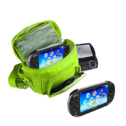 Orzly® - GAME & CONSOLE TRAVEL BAG for Sony PSP Consoles (GO/VITA/1000/2000/3000) Has Special Compartments for Games & Accessories. Bag includes Shoulder Strap + Carry Handle + Belt Loop - GREEN