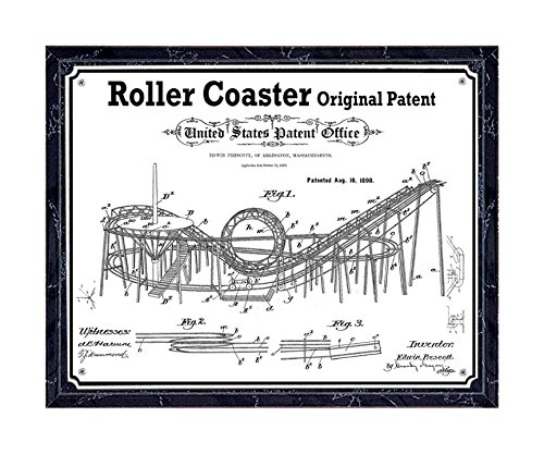 JS Original Roller Coaster patent printed on metal plate, mounted on black marble-finish wooden plaque