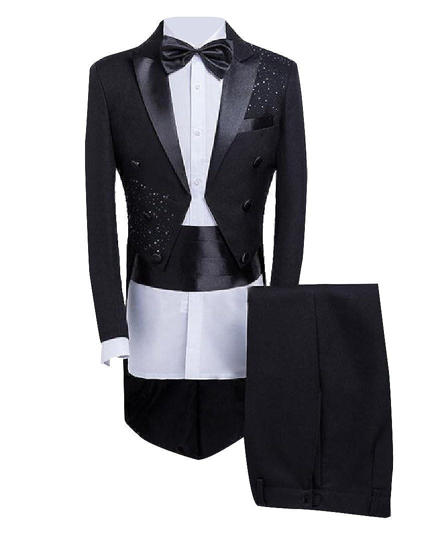 Coolred-Men Moderator Satin Sequin Swallowtail Suit Jacket 2-Piece