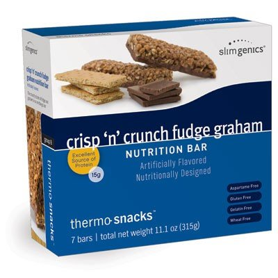 SlimGenics Thermo-Snacks ® | Crisp 'N' Crunch Fudge Graham Bar- 10g Protein - Alleviate Cravings, Increase Energy and Mental Focus, Enhance Weight Loss Results, Kosher Certified, 150 Calories - 7 bars