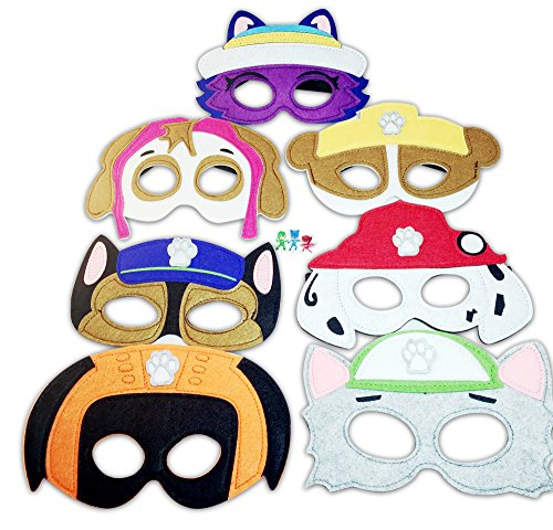 Paw patrol Birthday party Pretend Play Party Favors Felt Masks Cartoon Set of (Paw Patrol Masks)