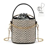 Yoome Drawstring Woven Top Handle Straw Bucket Women Chain Crossbody Shoulder Bags Beach Bag