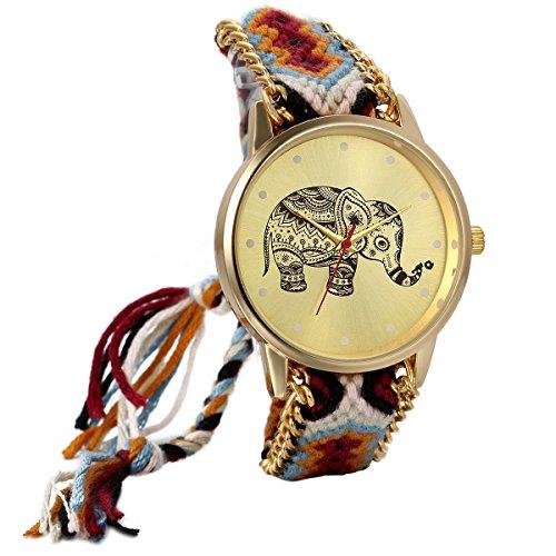 JewelryWe Mothers Day Gift Womens Elephant Pattern Weaved Rope Band Adjustable Bracelet Quartz Watch Birthday Gift from JewelryWe