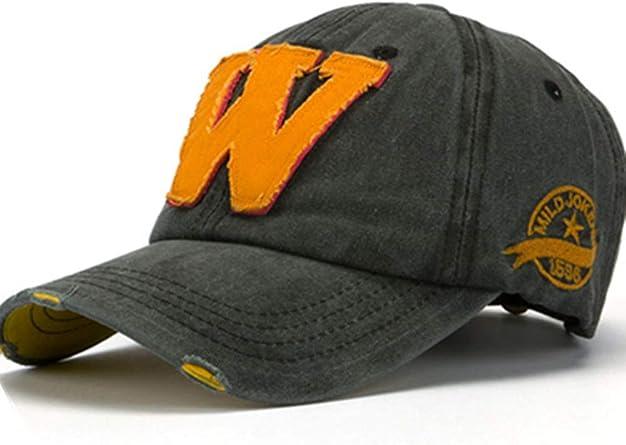 Letter W Embroidery Denim Washed Baseball Cap Vintage Adjustable Snapback Hat