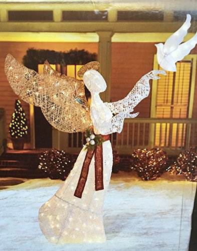 Lighted Outdoor Angel With Dove